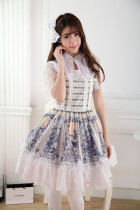 Short Sleeves Knee-length Blue Princess Pleated Dress with Lace Sweet Lolita Dress Customize