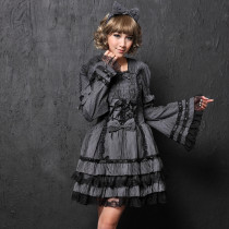 Gray Polyamide Long Sleeve Knee-length Flowers Collar Lace Sweet Lolita Dress