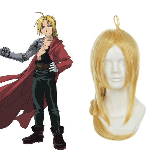 Rulercosplay Fullmetal Alchemist Edward Elric Long Curly Yellow Cosplay Anime Wigs Wholesaler Resale