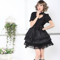 Knee-length Dress with Short Sleeve Sweet 65% Cotton Princess Lolita Dress