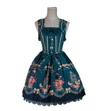 Lolita Fashion Keen-length Flower Prints Love and Canary Pattern Cotton Sweet Lolita Dress Anime Cos