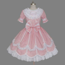 Pink Short Sleeves Princess Dress Knee-length Bow Cotton Sweet Lolita Dress Customize