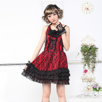 Knee-length Dress with Sling and Lace Lolita Dress