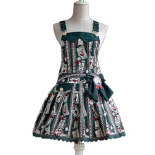 Lolita Fashion Keen-length Rabbit and Poker Pattern Cotton Overalls Dress Sweet Lolita Dress Anime C
