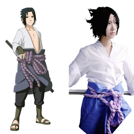 Rulercosplay Naruto Uchiha Sasuke Pattern White Cotton Cosplay Costume Wholesaler Resaler