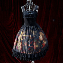 Rulercosplay Customized Oil Painting Girl Printing Lolita Black Chiffon Braces Dress Wholesaler Resa
