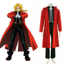 Rulercosplay Fullmetal Alchemist Edward Elric Red Uniform Cltoh Cosplay Costume Wholesaler Resaler