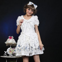 Chiffon Knee-length Dress with Bowknot Short Sleeve Sweet Lolita Dress