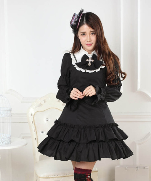 Long Sleeves Knee-length Black Multilayer Princess Dress Sweet Lolita Dress Customize Anime Cosplay
