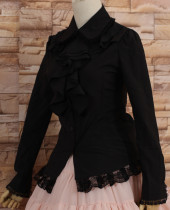 Chiffon Black Ruffled Collar Long Sleeves Princess Sweet Lolita Lace Blouse