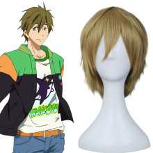 Rulercosplay Heat Resistant Fiber Inspired By Free! Makoto Tachibana Short Yellow Anime Wigs Wholesa