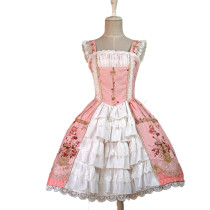 Lolita Fashion Cotton Love and Canary Pattern Flower Prints Sweet Lolita Dress