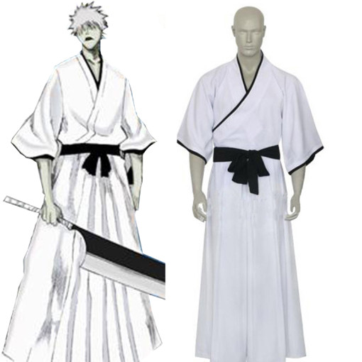 Rulercosplay White Uniform Cloth Bleach Ichigo Non-Bankai Hollow Cosplay Costume Wholesaler Resaler