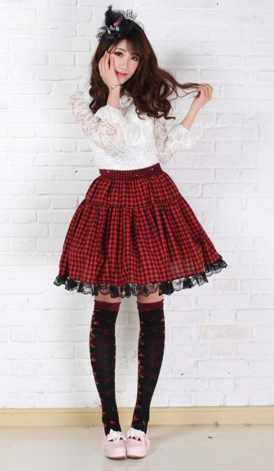 Squares and Lace Red Knee-length Sweet Lolita Pleated Skirt Lolita Fashion Customized