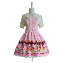 Lolita Fashion Cotton Keen-length Flower Prints with Bows Sweet Lolita Dress