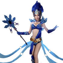 League of Legends Janna Blue Satin Cloth Custom-made Cosplay Costume