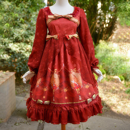 Rulercosplay Customized Cute Christmas Deer Pattern Bowknot Red Long Sleeves Lolita Chiffon And Gauz