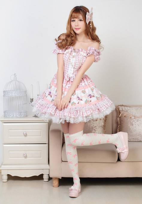 Tube Knee-length Lovely Pink Princess Dress Sweet Lolita Dress Customize
