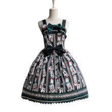 Lolita Fashion Keen-length Lovely Poker Pattern Cotton Long Sleeve Sweet Lolita Dress Anime Cosplay