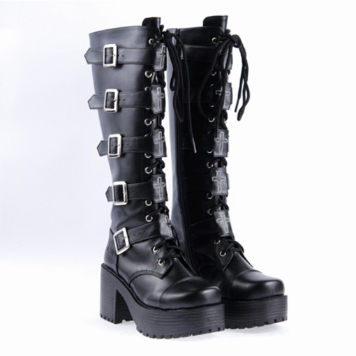 Classic Punk Boots Black PU Leather Lolita Heeled Boots