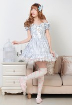 Short Sleeves Knee-length Blue Princess Dress With Squares Sweet Lolita Dress Customize