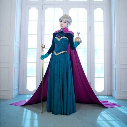 Frozen Elsa Disney Green Velvet Cosplay Costume