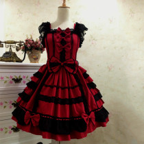 Fashion Big Bow Cotton and Chiffon Dress with Lace Lolita Dress Anime Cosplay Custome.