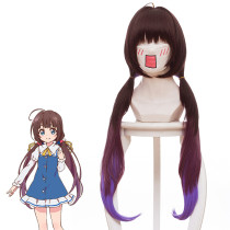Rulercosplay Ryuoh no Oshigoto! Hinazuru AI 3 Color Long Brown Ombre Purple Bunches Anime Cosplay Wi