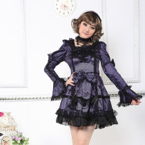 Knee-length Dress with Long Sleeve Flouncing Lolita Dress