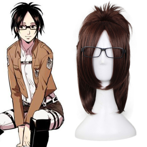 Rulercosplay Heat Resistant Fiber Inspired By Attack On Titan Hanji Zoe Medium Brown Anime Wigs Whol