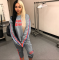 Gray Letter Printed Tracksuit Two Piece Set ME-159