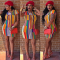 Colorful Stripe Short Sleeve Bodycon Print Dress TR-809