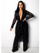 Black Lace Long Cardigan And Wide Leg Pant Set OSM-3236