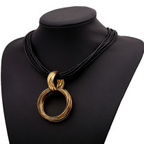 High Quality Circle Pendant Leather Rope Necklace