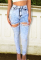 High Waist Hole Ripped Stretch Plus Size Jeans