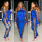Blue Sequin Hoodies And Pants Two Piece Set NK-8307-2