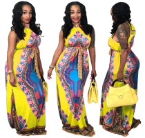 Printed Sleeveless Dashikis Long Dress Yellow TE-3465