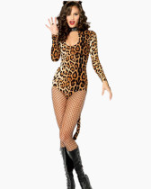 Leopard  Animal Long Sleeve Cosplay Bodysuit FQQ-0733