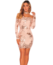 Sexy Off Shoulder Gold Sequin Dress LX-8571