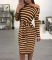 Coffee Long Sleeves Striped Midi Dress WY6390