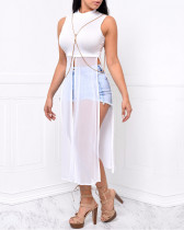 Sexy White Mesh Maxi Crop Top SH-S3045-0