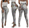 Plus Size Sequin High Waist Skinny Pants YSF-217