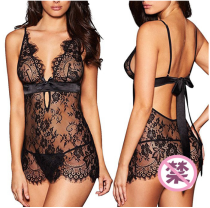 Women Transparent Lace Sexy Lingerie Set YQ-316