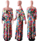 Floral Print Crop Top Split Maxi Skirt Set YD-8026