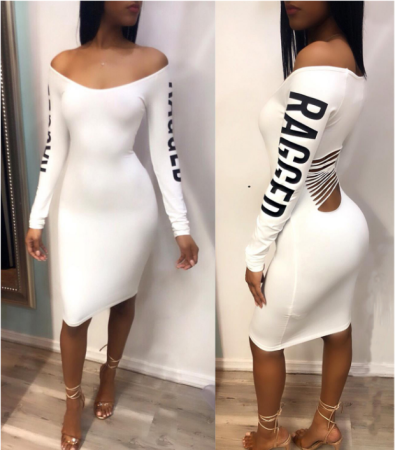 Letter Print Back Hollow Bandage Dress TEN-3263
