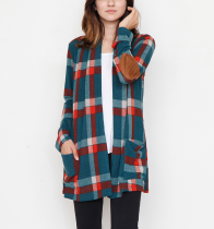 Patch Pocket Block Long Sleeve Cardigan MC-5406