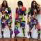 Colored Geometric Print Long Sleeve Jumpsuit WSM-5026