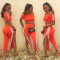 Striped Slash Neck Crop Top Split Pant Set NY-7020