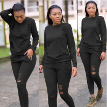 Black Hollow Out Casual Tracksuit 2 Piece Set BN-9126