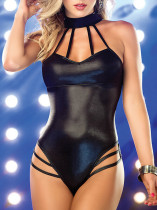 Patent Leather Halter Sexy Vinyl Lingerie for Lady